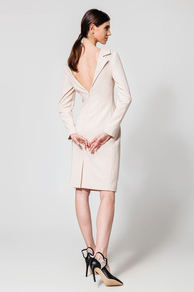 Creme brulee Evening Above Knee Dress - Dresses