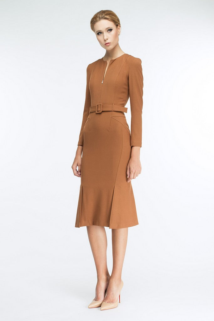 Camel Office Fitted  Below Knee Dress with Belt - Dresses
