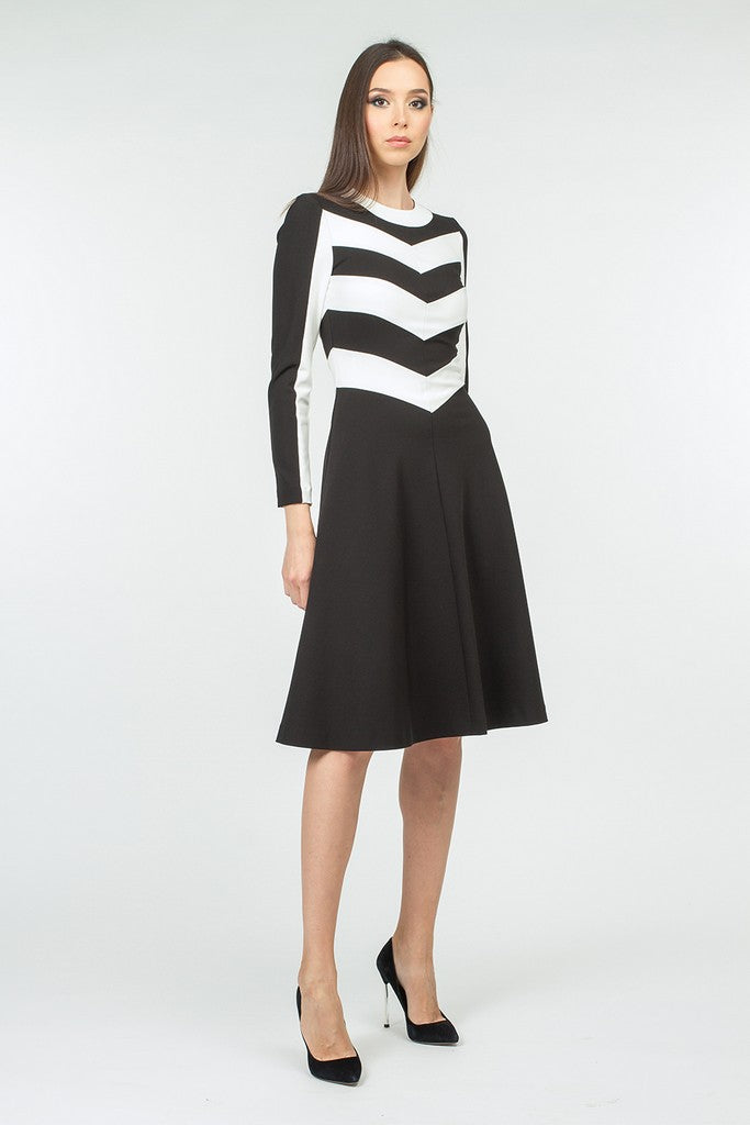 Black Office A-line Crewneck Long Sleeve Striped Knee Dress - Dresses