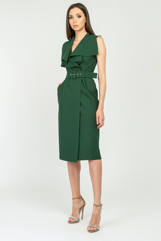 Green Day Bodycon V-neck Sleeveless Below Knee Dress with Belt - Dresses