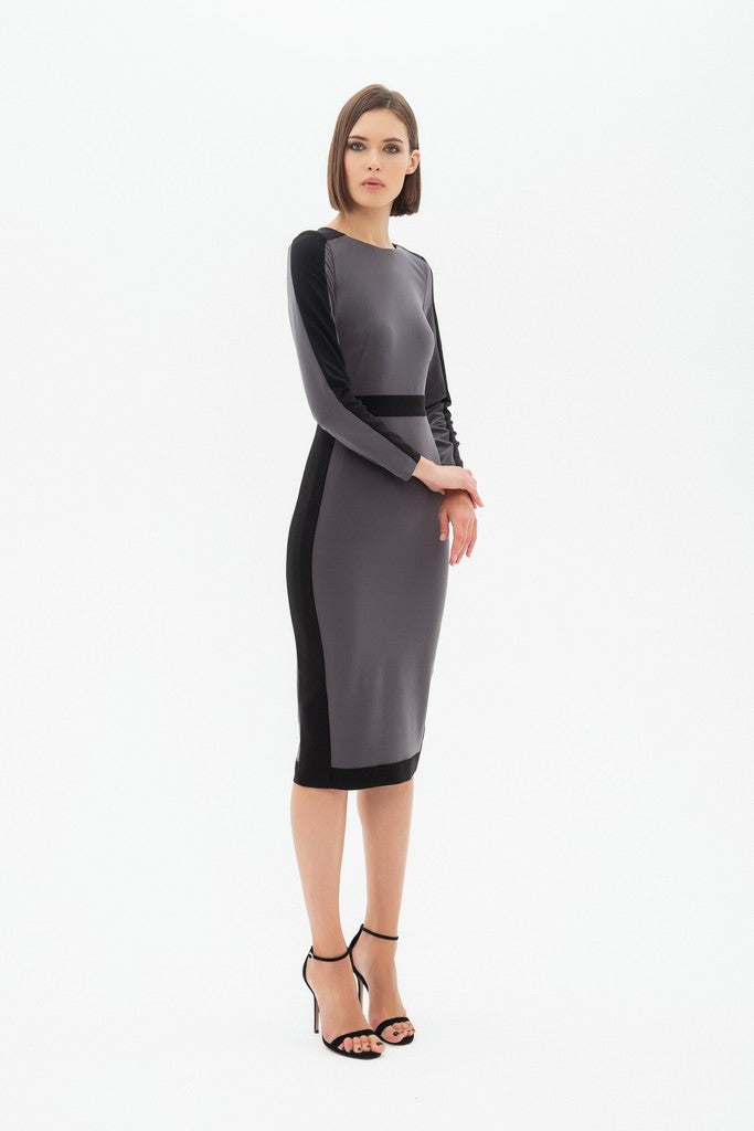 Gray Office Bodycon Crewneck Long Sleeve Midi Dress
