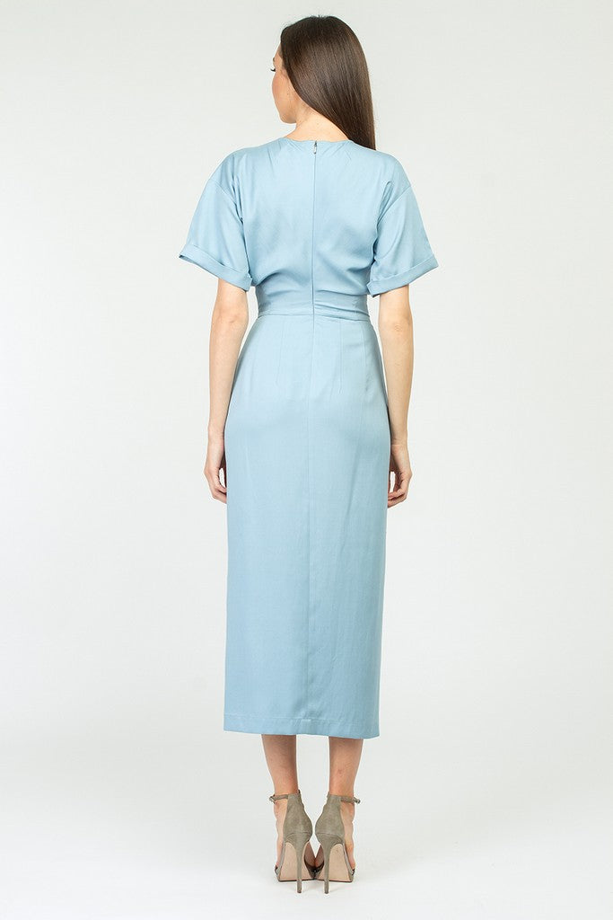 Blue Cotton Office Bodycon Cape Short Sleeve Maxi Dress with Belt - Dresses