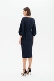 Blue Office or Evening Fitted Boatneck 3/4 Sleeves Midi Elegant Dress - Dresses