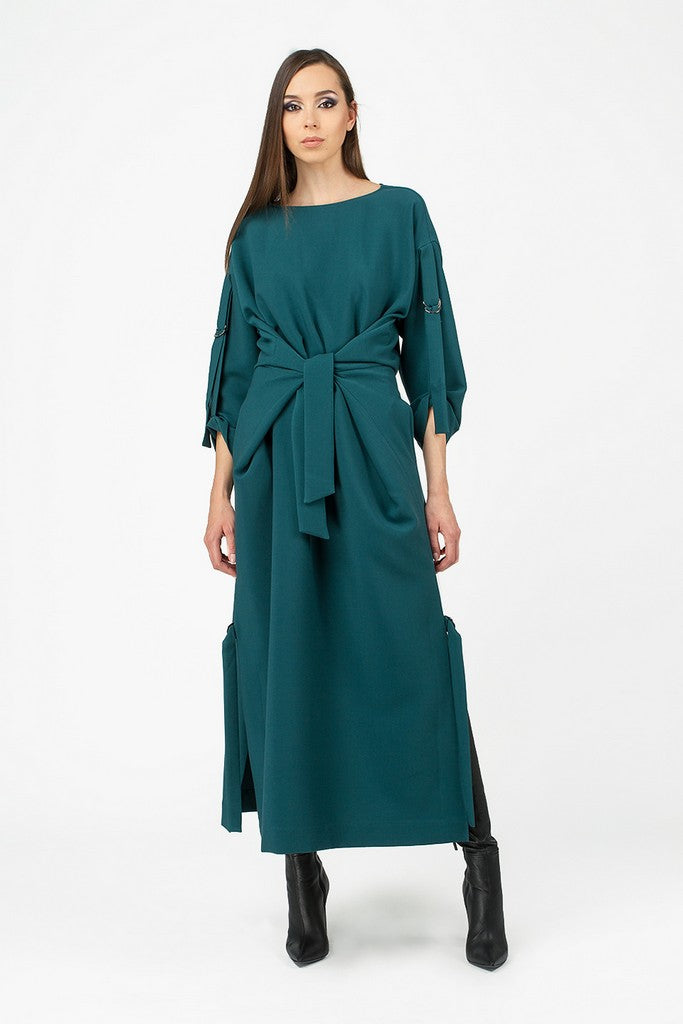 Green Casual A-line Crewneck Long Sleeve Tea Dress - Dresses
