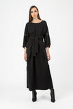 Black Casual A-line Crewneck Long Sleeve Tea Dress - Dresses