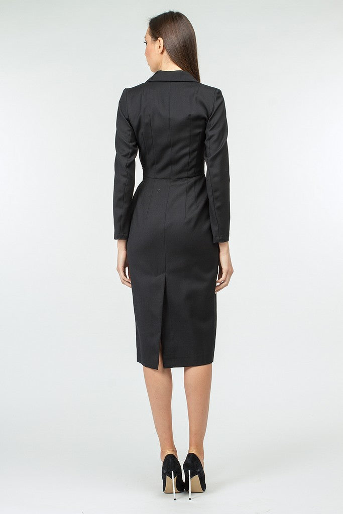 Black Office Wool V-neck Wrapped Long Sleeve Below Knee Dress - Dresses