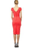 Coral Evening Fitted Off The Shoulder Short Sleeve Knee Dress - Dresses