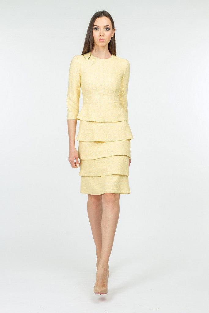 Yellow Office Bodycon Crewneck Elbow Sleeve Knee Ruffled Dress - Dresses