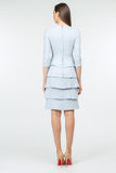 Blue Office Bodycon Crewneck Elbow Sleeve Knee Ruffled Dress - Dresses