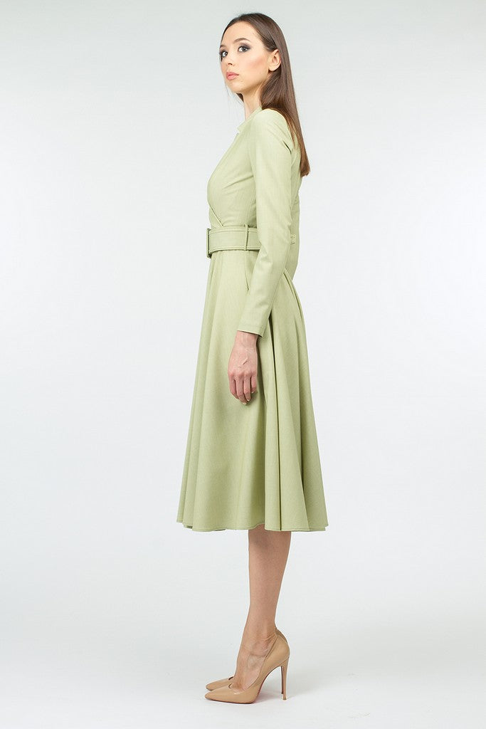 Light Green Day or Office A-line V-neck Long Sleeve Circle Skirt Midi Dress - Dresses