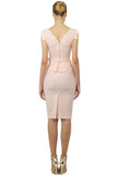Summer Powder Office Bodycon Sleeveless V-neck Knee Ruffled Dress with Belt - Dresses