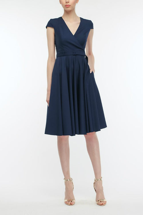 Office A-line V-neck Short Sleeve Knee Dress with Belt - ATLASDAY