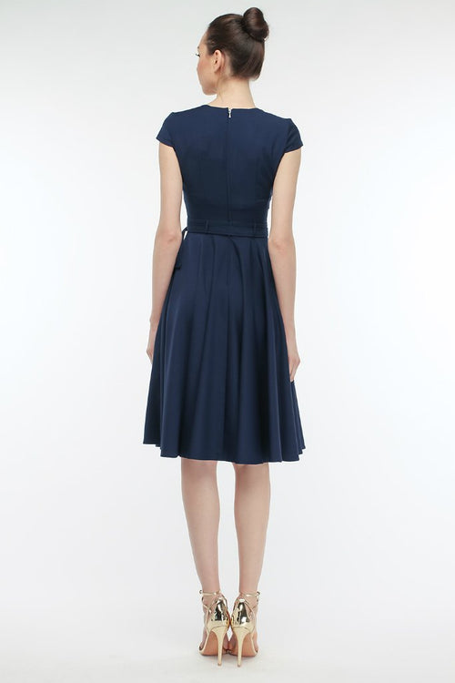Office A-line V-neck Short Sleeve Knee Dress with Belt