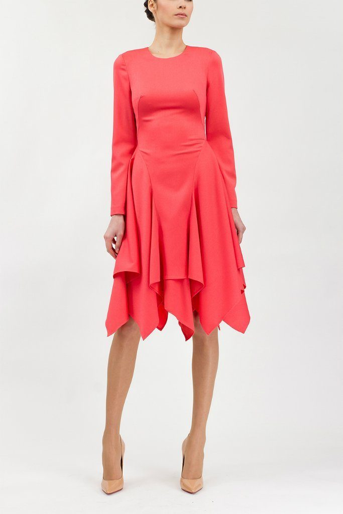 Office or Day A-Line Crewneck Long Sleeve Knee Dress - Dresses