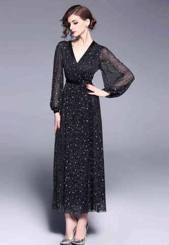 Black Evening Maxi Dress - Dresses
