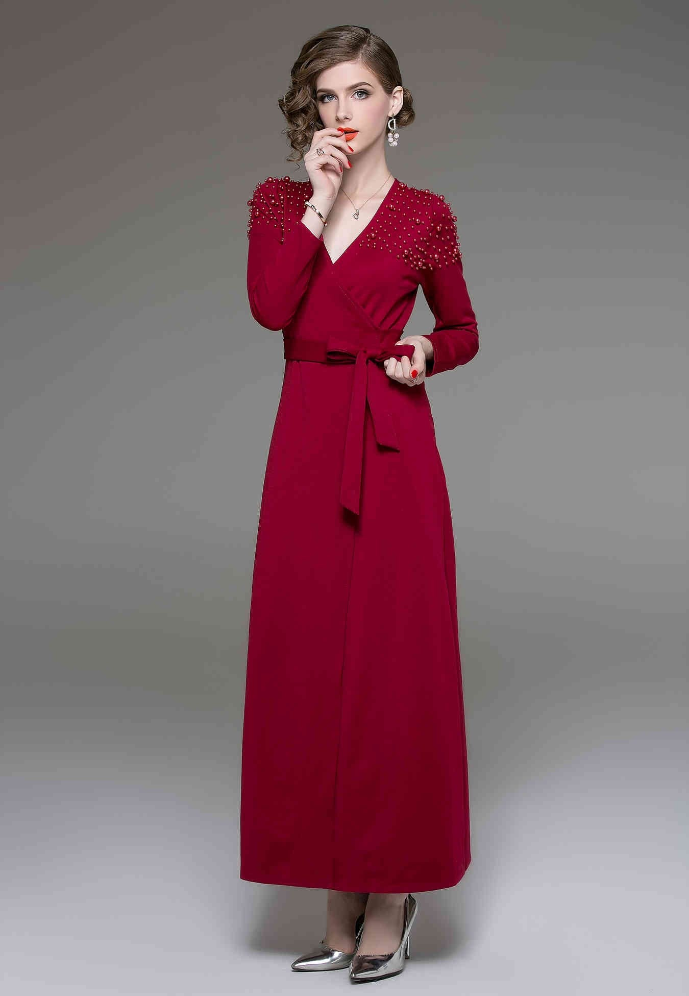 Evening Wrapped V-neck Long Sleeve Tea Dress - ATLASDAY