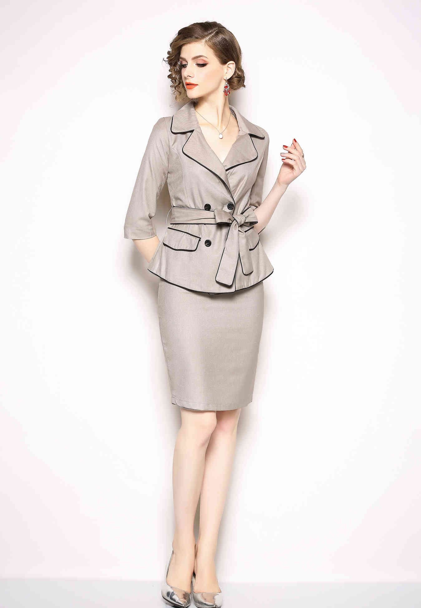 Office Two Piece Suit (Jacket & Midi Skirt) - ATLASDAY