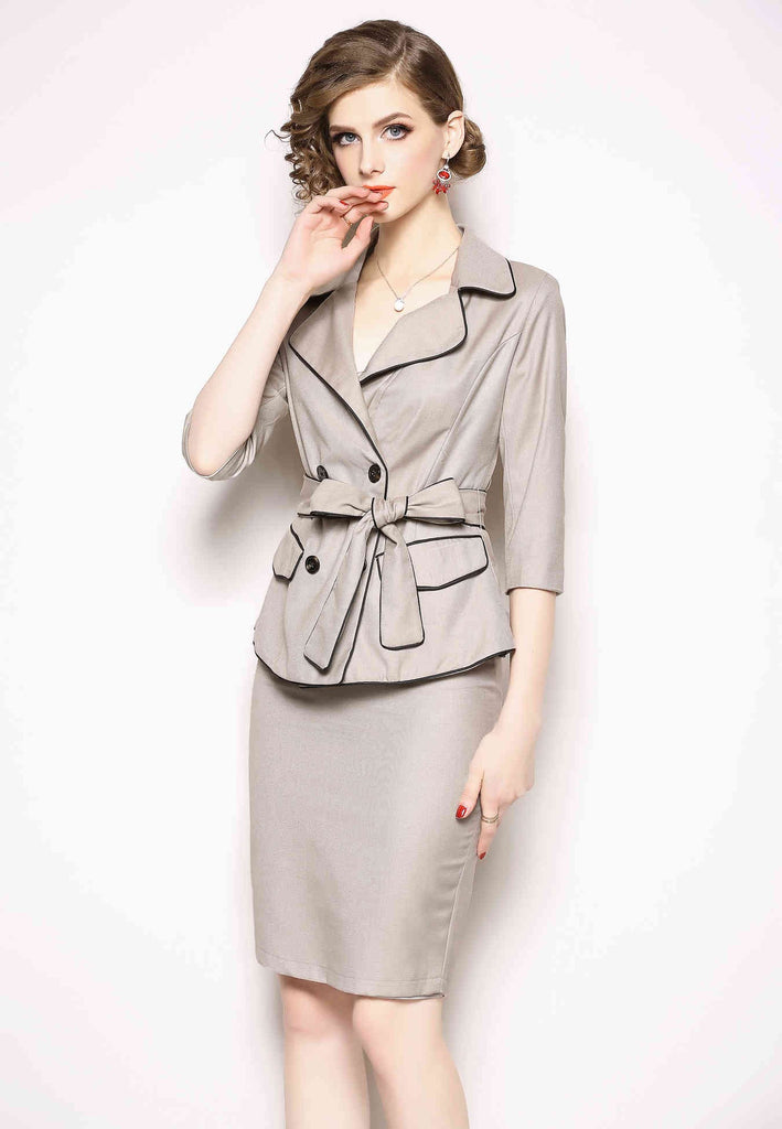 Office Two Piece Suit (Jacket & Midi Skirt) - Suits