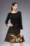 Black & Golden print Evening Dress - Dresses