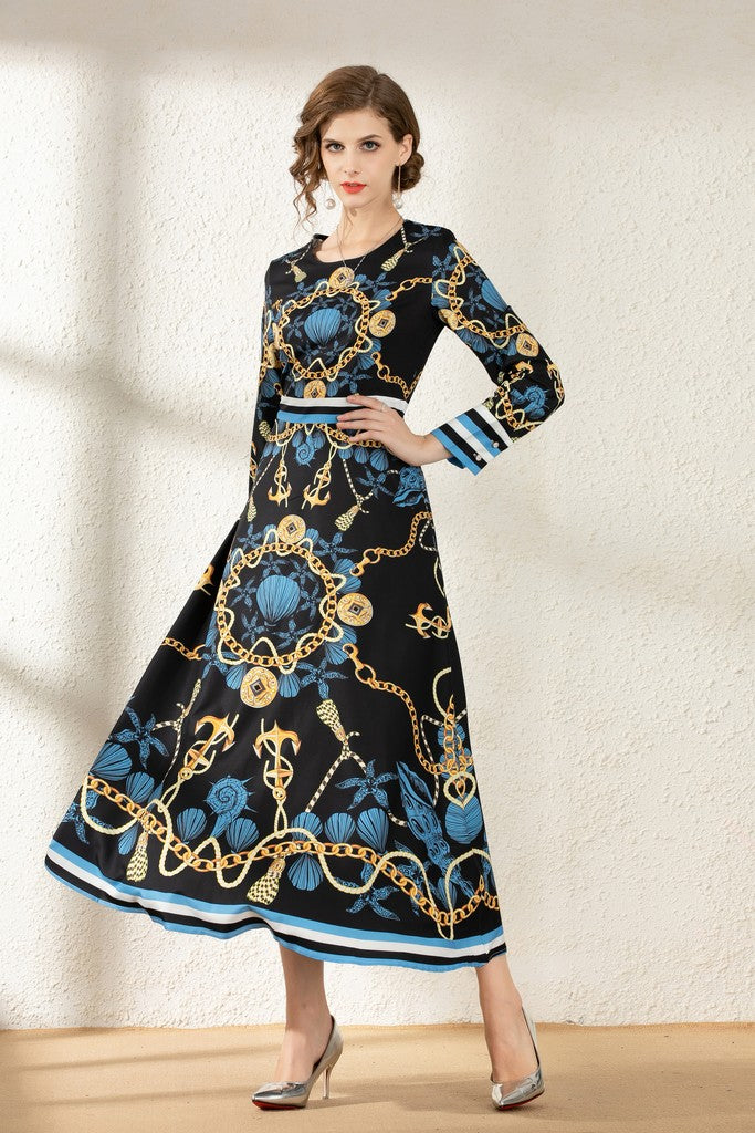 Black & Multicolor print Evening Dress - Dresses