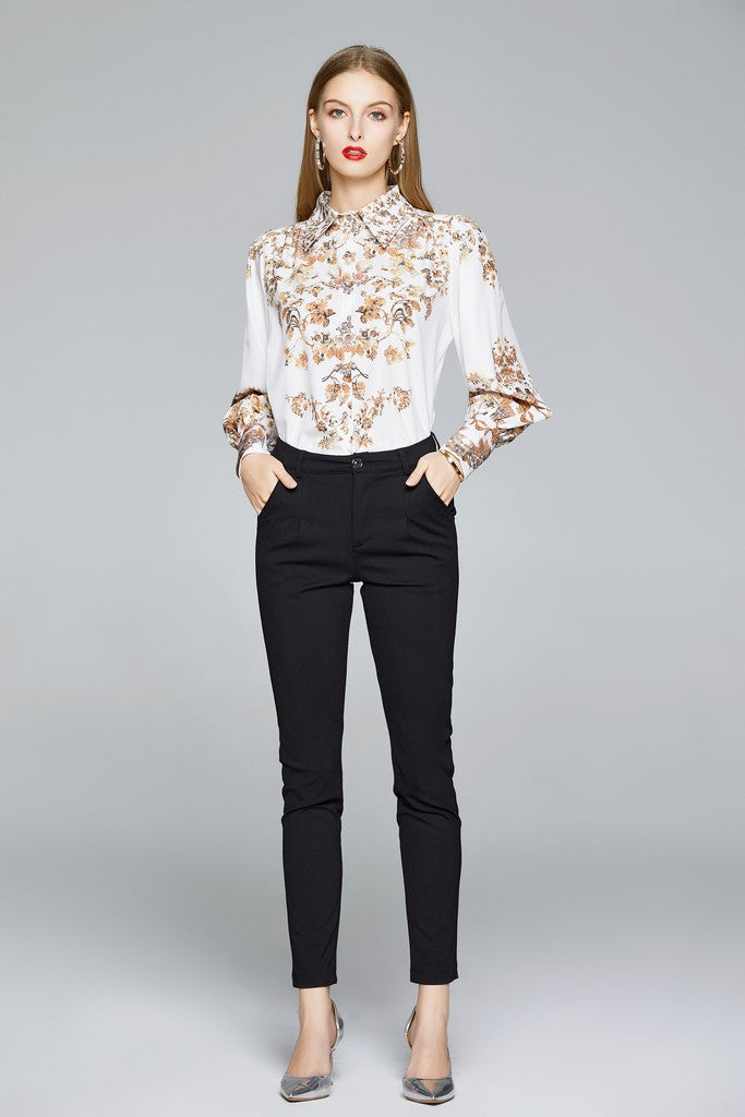White & Multicolor print Office Shirt - Shirts