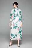 White & Multicolor floral print Evening Dress - Dresses