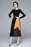 Black & Orange & Brown Office Dress - Dresses