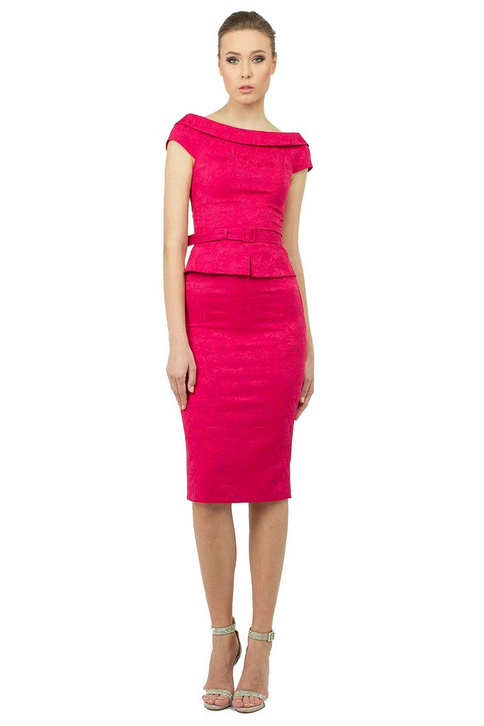 Summer Crimson Office Suit (Short Sleeve Boatneck Blouse and Pencil Skirt) - Suits