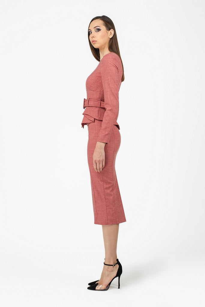 Terracotta Office Suit (Crewneck Long Sleeve Jacket and Pencil Skirt) - Suits