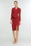 Terracotta Office Suit (V-neck Long Sleeve Jacket & Pencil Skirt) - Suits