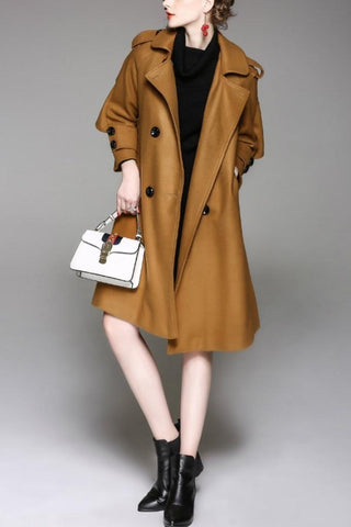 Lapel Long Sleeve Coat With Belt