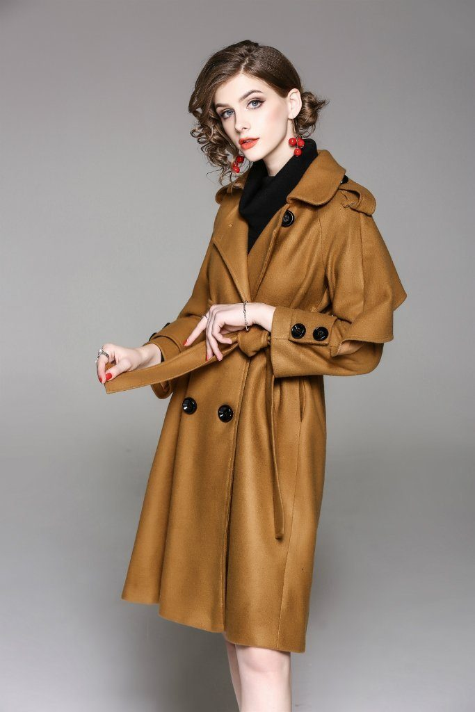 Double Breasted Shirt Colar Long Sleeve Trench Ruffeld Coat - ATLASDAY