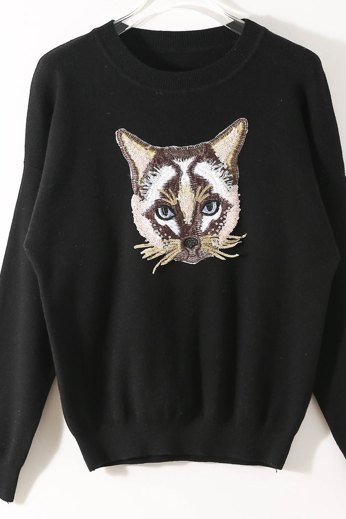 Day Printed Black Pullover - Pullovers