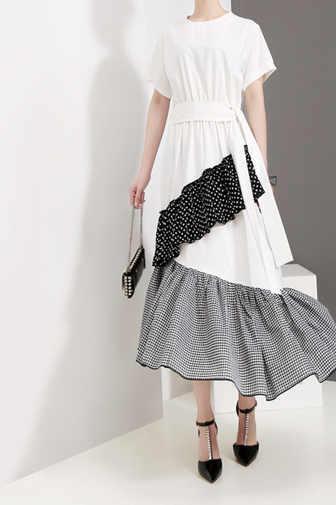 Maxi Ruffled Dress with Belt