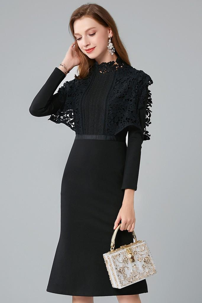 Black Fluted Dress - Dresses