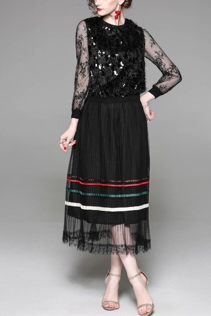 Day to Evening Jewel Neckline Long Lace Sleeve Maxi Dress - ATLASDAY