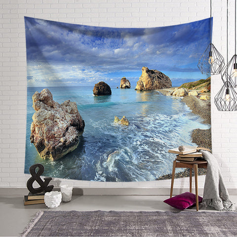 Sea Beach Tree Tapestry Wall Hanging Wall Tapestry Blanket Tapestry Living Room Bedroom Farmhouse Decor Wall Fabric Celestial