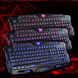 Original Gaming Keyboard USB Tricolor Background lighting 3 Colors Backlit Wired 108 Keys Keyboard for Desktop Laptop PC - one46.com.au