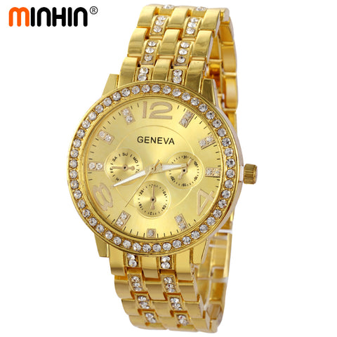 MINHIN Luxury Women Dress Watches New Design Quartz Wristwatches Fashion Casual Gold/Silver/Rose Gold Colors Bracelet Watch