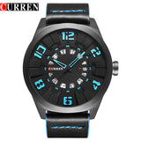 CURREN Military Sport Quartz watch Men Black Fashion Casual Army Top Brand Luxury Leather Quartz-Watch Male Clock red - one46.com.au