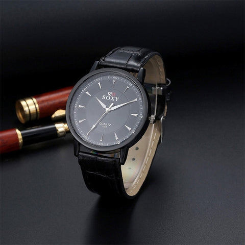 SOXY Fashion Leather Quartz Watch Casual Business Watches Men Sports Watch Hombre Hour Clock Gift montre homme relogio masculino - one46.com.au
