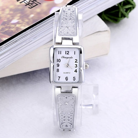 Women Vintage Luxury Gold + Silver Watches Elegant Quartz Fashion Rectangle Dial Watch Carved Pattern Bracelet Casual WristWatch - one46.com.au
