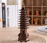 Antique 9 floor tower Model Figurine Metal Crafts Lucky fengshui Craft Business school Gifts home Office Table Decor Accessories - one46.com.au