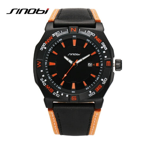 SINOBI Luxury Brand Watch Waterproof 30 M Fashion Sports Watch Men Military Watches Leather Auto Date Quartz-Watch Clock Hour - one46.com.au