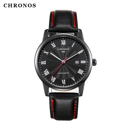 CHRONOS Brand 1898 Business Watch Men Watch Genuine Leather Men's Watch Auto Date Watches Clock relogio masculino reloj hombre - one46.com.au
