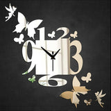 Creative DIY 3D Mirror Silver Sticker Butterfly Pattern Artistic Wall Clock Watch Acrylic Home Living Room Decoration - one46.com.au