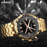 BOAMIGO brand men quartz watch luxury male dress fashion sport watches gold stainless steel gift wristwatches  relogio masculino - one46.com.au