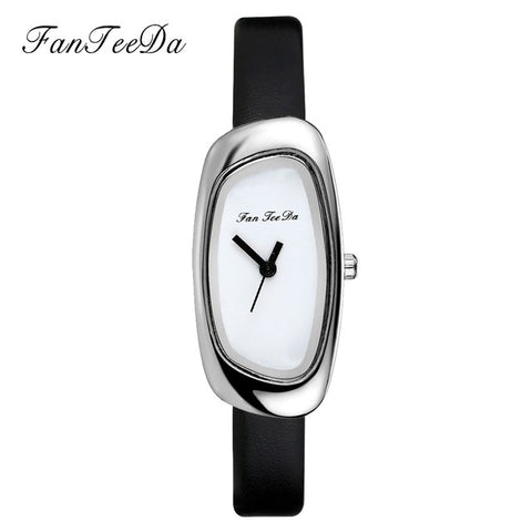 FanTeeDa Brand Fashion Women Watches Quartz Watch Leather Silver Dial Dress Bracelet Wristwatches Female Sport Outside Watch - one46.com.au