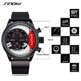 SINOBI Top Brand Chronograph Sports Watches Waterproof Military Watch Men Watch Leather Fashion Watches saat relogio masculino - one46.com.au