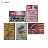 AIHOME Warning Metal Tin Signs Signage Home Decor Wall Art Painting Plaque Vintage Decorative Metal Sign Home Decor Poster - one46.com.au